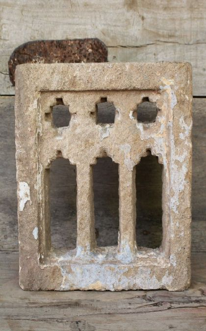 Golden Sandstone 3 Niche Architectural Window, Jaisalmer circa 1890